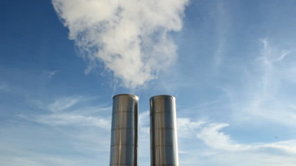 Two exhaust stacks. Medium and closeup shots.
