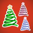 Christmas ribbon trees set
