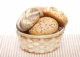 Traditional bread rolls in wicker basket