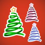 Christmas ribbon trees set