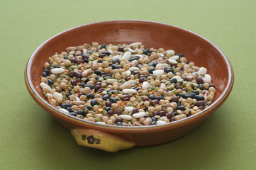 Close-up view of mixed legumes