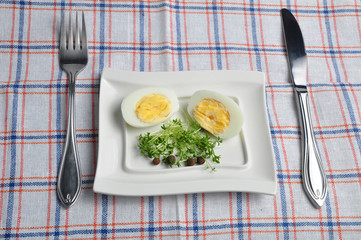 eggs, vegetables and cutlery
