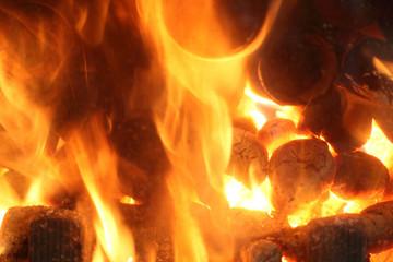 Płomienie, ogień z kominka.