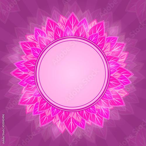 Pink Flower Label on Purple Background Card