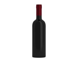 Weinflasche Schwarz Kappe rot