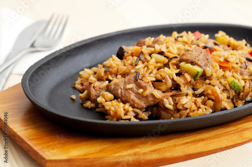 Fried Rice with meat and Vegetables