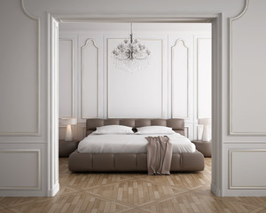 Luxury minimal white bedroom with vintage wood floor