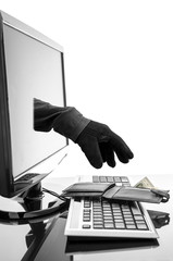 Gloved hand stealing wallet through a computer screen