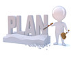 "Little man carves the word ""PLAN"""