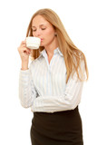 Smiling beautiful business woman with cup of coffee