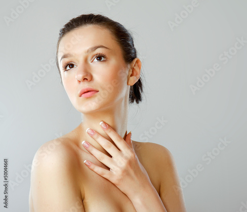 A portrait of a beautiful woman isolated on white background