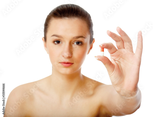 Young woman showing a tablet-isolated on white