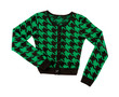 Green houndstooth check pullover