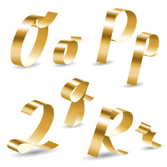 Ribbon alphabet OPQR