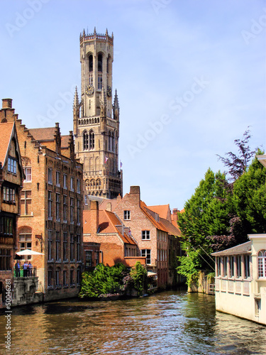 The famous Belfry and canal scene in Bruges, Belgium