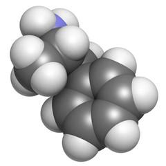 Amphetamine stimulant molecule, chemical structure.