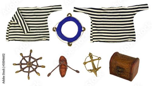 Marine objects isolated set