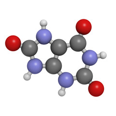 Uric acid gout molecule, chemical structure.