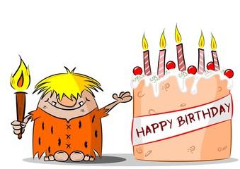 Cartoon Caveman with Happy Birthday Cake