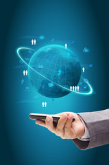 Information technology business concept, on mobile phones