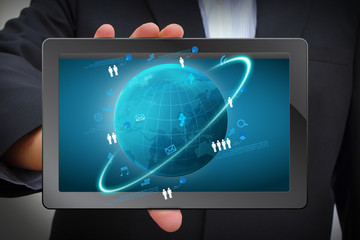 global network business concept, on computer tablet PC