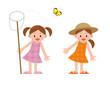 女の子 昆虫採集