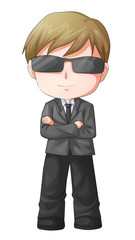 Cute cartoon illustration of a man figure in a suit and sunglass