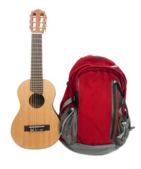 Backpack and guitar.