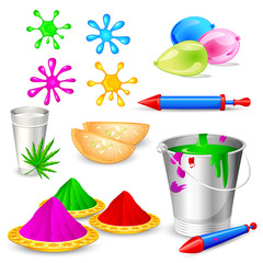 easy to edit vector illustration of object for Holi festival