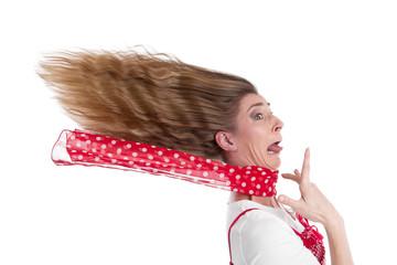 Frau gestresst und in Panik isoliert