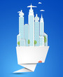 Origami Modern city background. Vector