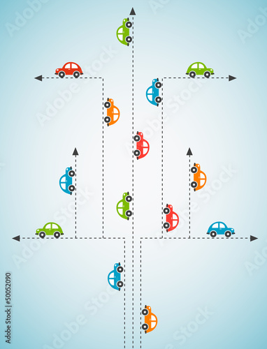 Abstract background with color cars. Vector