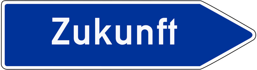 Straßenschild, Wegweiser Zugunft
