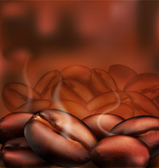 vector background with coffee beans close-up