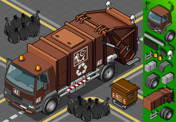 Detailed illustration of a isometric humid waste garbage truck