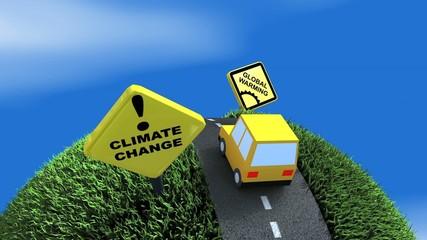 Climate change ahead concept animation. Matte