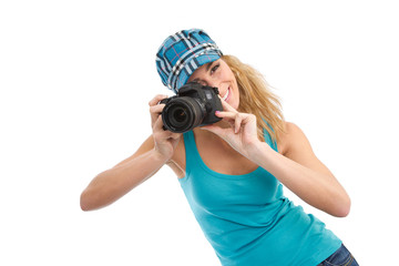 Hobbyfotografin im Urlaub