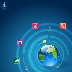 Communication icon around Earth