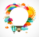 hot air balloon, colorful abstract vector background