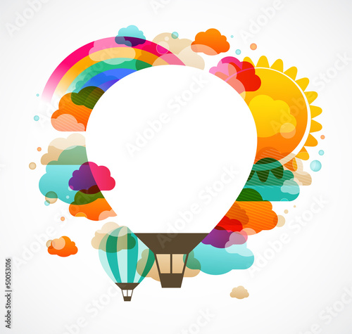 hot air balloon, colorful abstract vector background - 50053016
