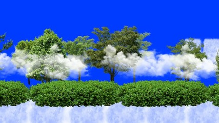trees and waterfalls with blue screen