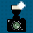 Photo Camera and flash abstract, vector illustration