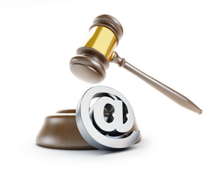gavel email spam 3d Illustrations on a white background
