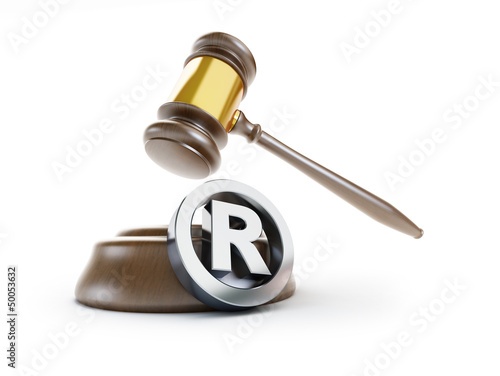 gavel registered trademark sign 3d Illustrations