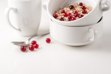 Flakes with cranberries on the white bowl