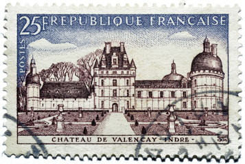 Stamp with castle of Valençay in France