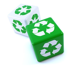 Two cubes with green recycle design