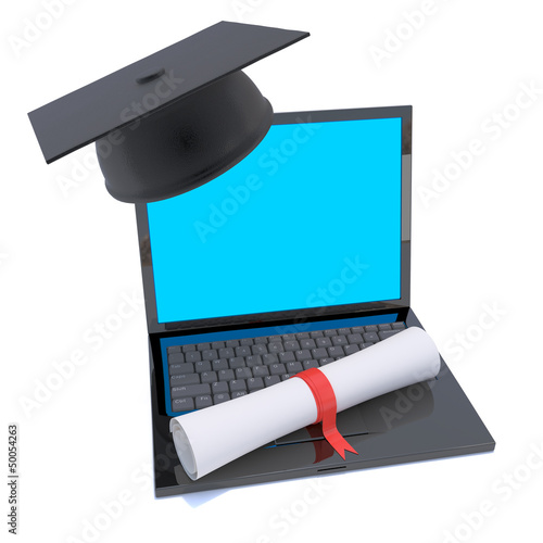 Laptop online education course with diploma