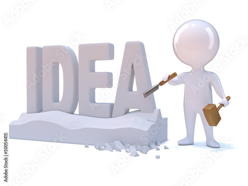 "Little man carves the word ""IDEA"""