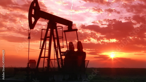 Oil Pump Jack at Sunset